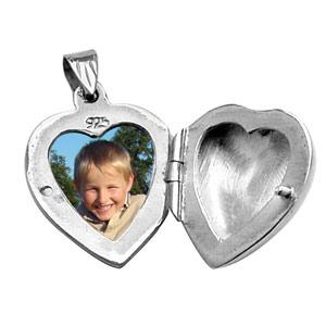 Pendentif en argent cassolette coeur ouvragé - possibilité d\'insérer 1 ou 2 photos droite et gauche - Vue 2