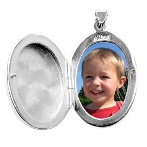 Pendentif en argent cassolette ovale ouvragé - possibilité d\'insérer 1 ou 2 photos droite et gauche - Vue 2