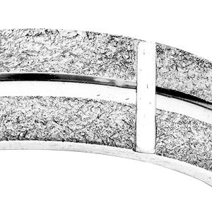 Alliance en argent rhodié ruban granitée diamantée largeur 6mm - Vue 2