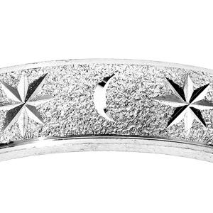 Alliance en argent rhodié granitée diamantée étoile largeur 6mm - Vue 2