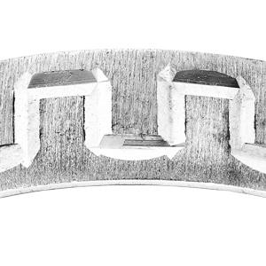 Alliance en argent rhodié givrée et diamantée motif grecque largeur 5mm - Vue 2