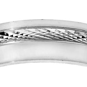 Alliance en argent rhodié diamantée et partie lisse largeur 6mm - Vue 2