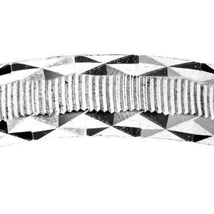 Alliance en argent rhodié diamantée striée contour dentelé largeur 4mm - Vue 2