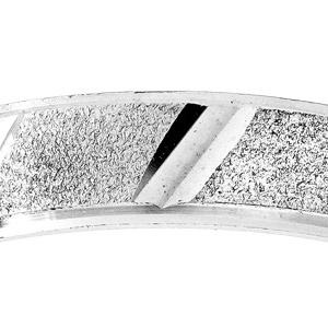 Alliance en argent rhodié granité et diamantée biais largeur 4mm - Vue 2