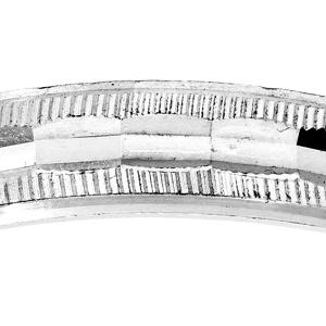 Alliance en argent rhodié diamantée avec striures largeur 4mm - Vue 2