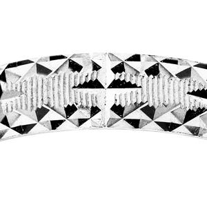 Alliance en argent rhodié diamantée étoile avec striures  largeur 4mm - Vue 2