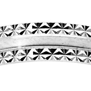 Alliance en argent rhodié diamantée bord cranté largeur 4mm - Vue 2