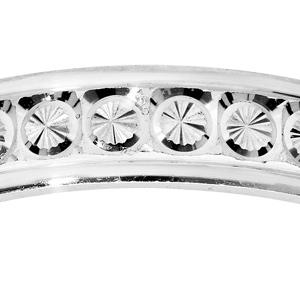 Alliance en argent rhodié diamantée rond finement ciselé largeur 4mm - Vue 2