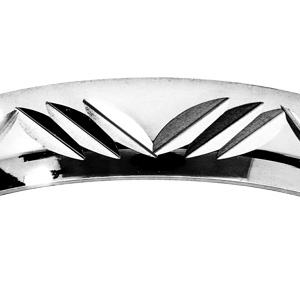 Alliance en argent rhodié 4mm et diamantée 3 traits de biais en forme de vague - Vue 2