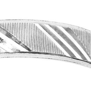 Bague en argent rhodié diamantée striée largeur 4mm - Vue 2