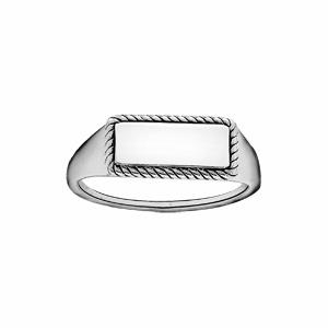 Chevalière en argent rhodié plateau rectangulaire au contour perlé - Vue 2