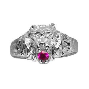 Chevalière lion en argent petit modèle avec oxyde rouge entre les dents - Vue 2