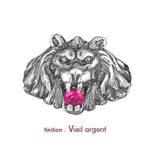 Chevalière lion en argent gros modèle avec oxyde rouge entre les dents - Vue 2
