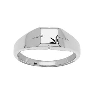 Chevalière en argent rhodié petit plateau carré ciselé en étoile dans angle - Vue 2