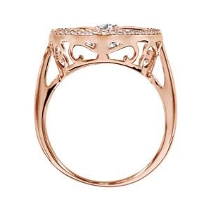 Bague Dancing Stone en argent et dorure rose motif arbre de vie orné d\'oxydes blancs - Vue 2