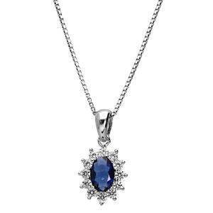 Collier en argent rhodié collection joaillerie chaîne avec pendentif ovale et gros oxyde bleu au centre orné de petits oxydes blancs autour formant une marguerite - Vue 2