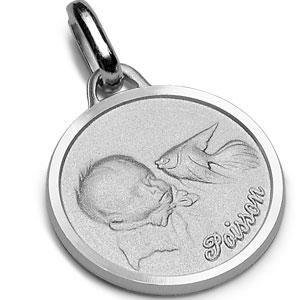 Pendentif médaille pour bébé en argent rhodié zodiaque Capricorne - Vue 2