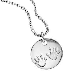 Pendentif en argent médaille avec empreintes de mains - diamètre 16mm - Vue 2