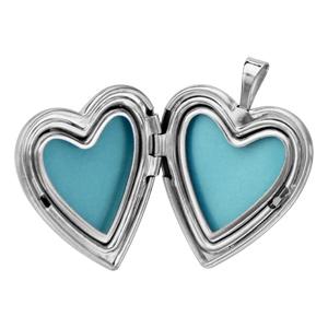 Pendentif en argent rhodié cassolette coeur avec gravure papillons sur 1 bande au milieu - possibilité d\'insérer 1 ou 2 photos droite et gauche - Vue 2