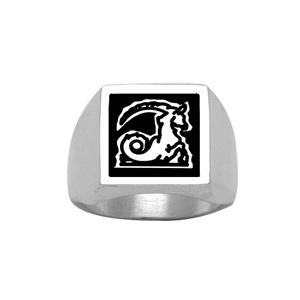 Chevalière en argent plateau carré 15mm X 15mm en onyx synthétique - Vue 2