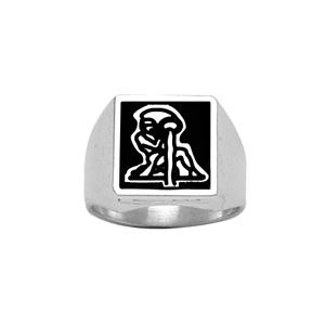 Chevalière en argent plateau carré 13mm X 13mm en onyx synthétique - Vue 2