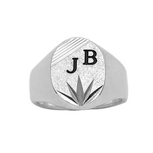Chevalière en argent plateau ovale diamanté ciselé en étoile en bas et strié en haut - Vue 2