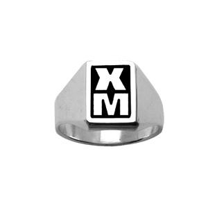 Chevalière en argent plateau rectangulaire 11mm X 8mm en onyx synthétique - Vue 2