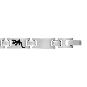 Bracelet pour enfant en acier alternance de maillons lisses et maillons ornés d\'une salamandre en résine noire - longueur 16cm - Vue 2