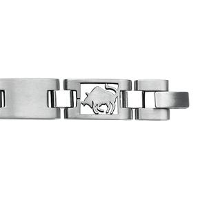 Bracelet en acier alternance de maillons lisses et maillons avec zodiaque du Taureau découpé - longueur 20,5cm réglable - Vue 2