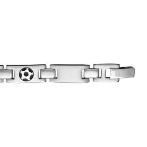 Bracelet en acier alternance de maillons lisses et maillons ornés d\'un ballon de foot en résine noire - 21cm - Vue 2