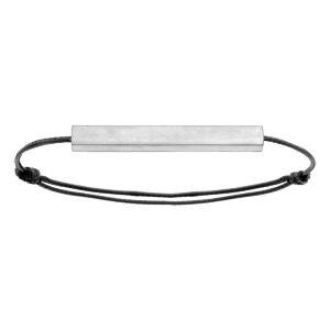 Bracelet en acier satiné tube rectangulaire 4mm personnalisable avec cordon noir réglable - Vue 2