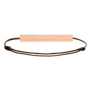 Bracelet en acier rose satiné tube rectangulaire 4mm personnalisable avec cordon marron réglable - Vue 2