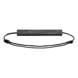 Bracelet en acier noir satiné tube rectangulaire 4mm personnalisable avec cordon noir réglable - Vue 2