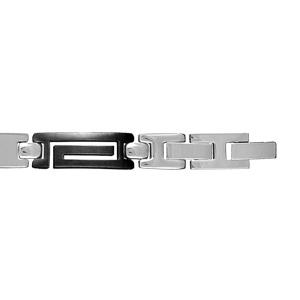 Bracelet en acier alternance de maillons lisses et de maillons en PVD noir découpés en méandre grec - longueur 20cm + 1,5cm réglable par double fermoir - Vue 2