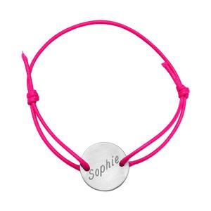 Bracelet en acier cordon rose coulissant avec plaque ronde au milieu - Vue 2