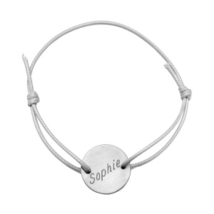 Bracelet en acier cordon blanc coulissant avec plaque ronde au milieu - Vue 2