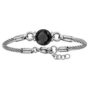 Bracelet en acier câble avec 1 boule en céramique noire au milieu - longueur 18cm + 2cm de rallonge - Vue 2