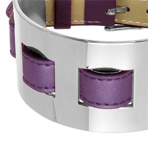 Bracelet en cuir violet large sur acier fermoir ceinture - Vue 2