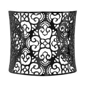 Bracelet en acier et PVD noir manchette motif filigrané - Vue 2