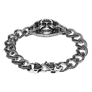 Bracelet en acier chaîne gros maillons et tête de mort 23cm - Vue 2