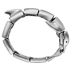Bracelet en acier satiné dauphin articulé - longueur 23,5cm - Vue 2