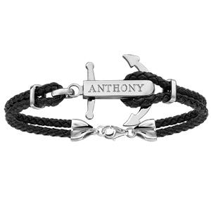Bracelet en acier cordon en cuir noir doublé avec ancre marine à graver au milieu - longueur 19cm + 3cm de rallonge - Vue 2