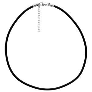 Cordon en caoutchouc et fermoir en acier - largeur 3,5mm e longueur 45cm + 5cm de rallonge - Vue 2
