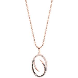 Collier en acier et PVD rose Pendentif ovale avec oxydes noirs et blancs 40+5cm - Vue 2