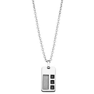 Collier adolescent en acier avec Pendentif câble et pierres noires 45+10cm - Vue 2
