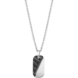 Collier adolescent en acier avec Pendentif en PVD noir et câble diagonale 45+10cm - Vue 2