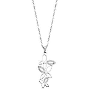 Collier en acier avec Pendentif papillon et cristaux 42+4cm - Vue 2