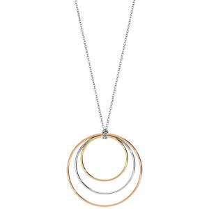 Collier en acier et PVD rose et jaune 3 anneaux 80cm - Vue 2