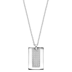 Collier en acier avec Pendentif plaque rectangulaire et motif graphique 50+5cm - Vue 2