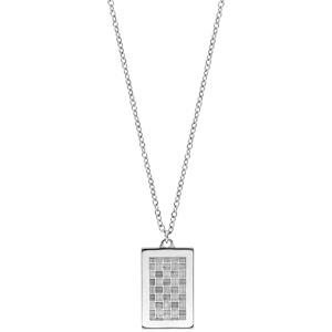Collier en acier avec Pendentif plaque rectangulaire motif graphique quadrillage 50+5cm - Vue 2